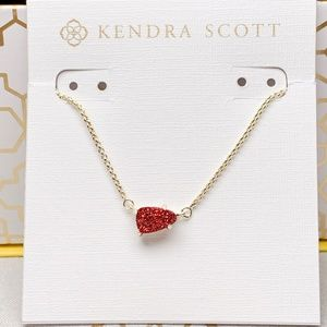 Rare Kendra Scott Gold Red Drusy Helga Necklace